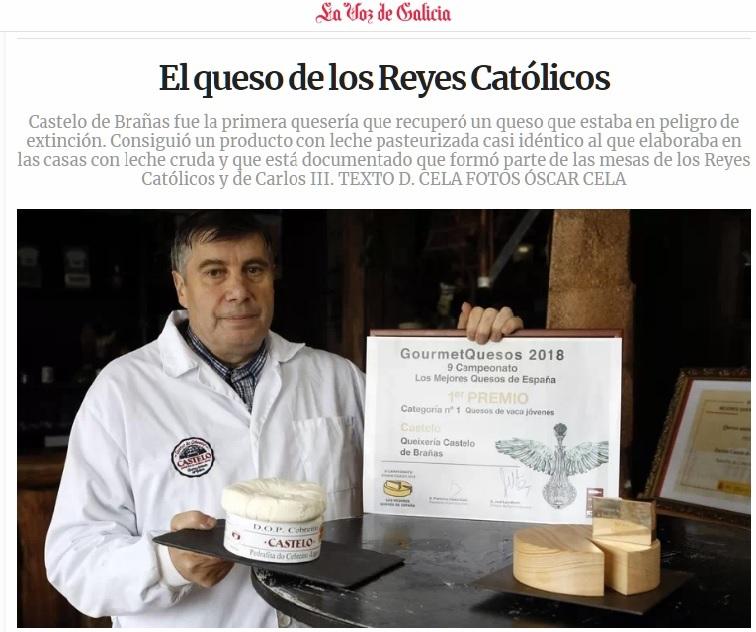 En el  IX Campeonato de Mejores quesos celebrado en el Salón Gourmet, Castelo de Brañas recibe el premio como Mejor Queso de Vaca Joven de España.